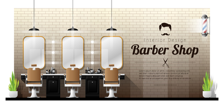 Interior background of vintage barber shop , vector , illustration