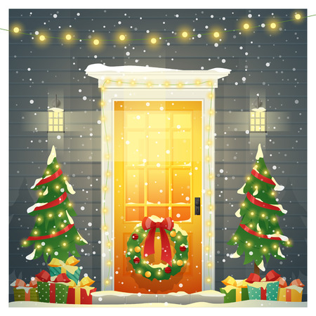 Buon Natale e felice anno nuovo sfondo con porta d'ingresso di Natale decorata, vettore, illustrazione