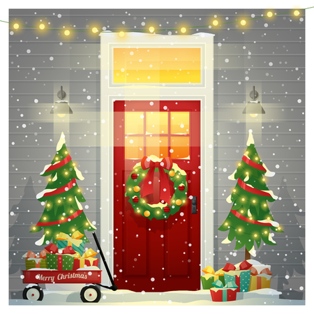 Merry Christmas and Happy New Year background with decorated Christmas front door , vector , illustration