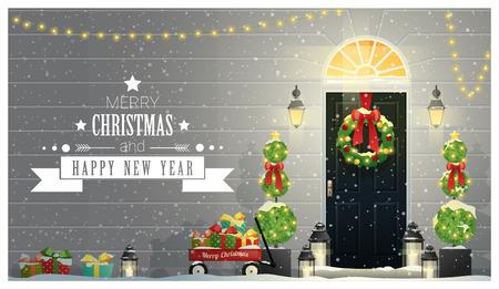 Hintergrund der frohen Weihnachten und des guten Rutsch ins Neue Jahr mit verzierter Weihnachtseingangstür, Vektor, Illustration