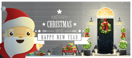 Merry Christmas and Happy New Year background with decorated Christmas front door and Santa Claus , vector , illustration Illustration
