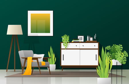Interior background of modern living room in natural concept with wooden furniture , plants and green wall , vector , illustration Ilustrace
