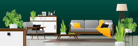 Interior background of modern living room in natural concept with wooden furniture , plants, and green wall , vector , illustration