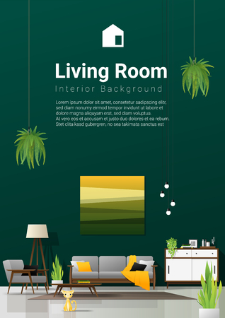 Interior background of modern living room in natural concept with wooden furniture , plants and green wall , vector , illustration Illustration