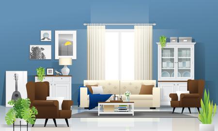 Fond de salon avec meubles en bois, plantes et mur bleu dans un style rustique moderne, vecteur, illustration Vecteurs