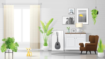 Fond de salon chaleureux et lumineux avec des meubles de style rustique moderne, vecteur, illustration