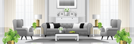 Luxury living room interior background with furniture in classic style , vector , illustration Vector Illustration
