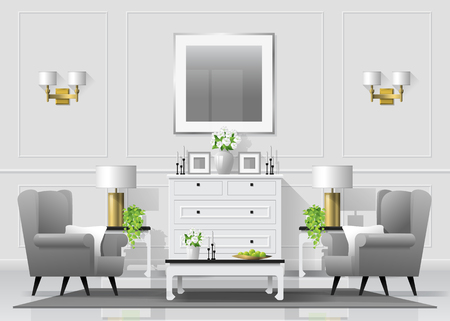 Luxury living room interior background with furniture in classic style , vector , illustration Illustration