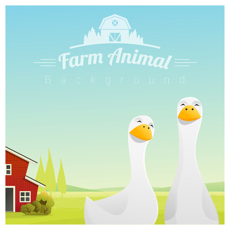 Farm animal and Rural landscape background with ducks , vector , illustration Ilustrace