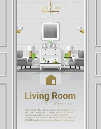 Luxury living room interior background with furniture in classic style , vector , illustration Ilustrace