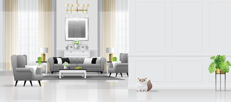 Fondo interior de sala de estar de lujo con muebles de estilo clásico, vector, Ilustración