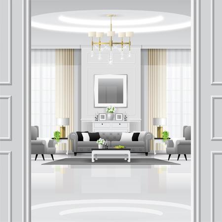 Fondo interno del salone di lusso con mobilia in stile classico, vettore, illustrazione