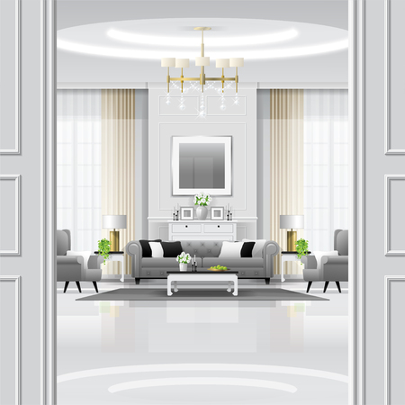 Luxury living room interior background with furniture in classic style , vector , illustration 矢量图像