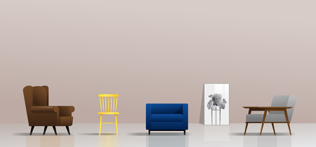 Interior background with different types of chairs , vector , illustration