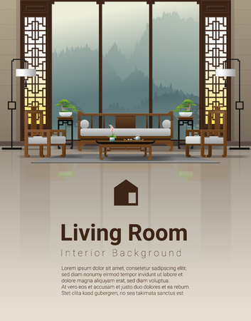 Luxury living room interior background with furniture in Chinese style , vector , illustration Ilustração