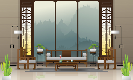 Fond intérieur de salon de luxe avec des meubles de style chinois, vecteur, illustration Vecteurs