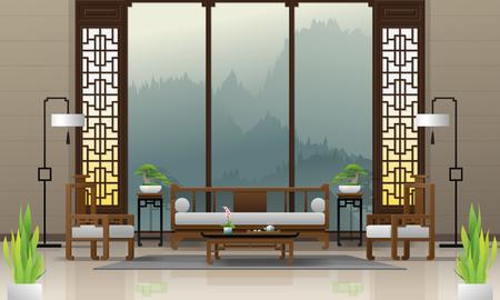 Fondo interior de sala de estar de lujo con muebles de estilo chino, vector, Ilustración Ilustración de vector