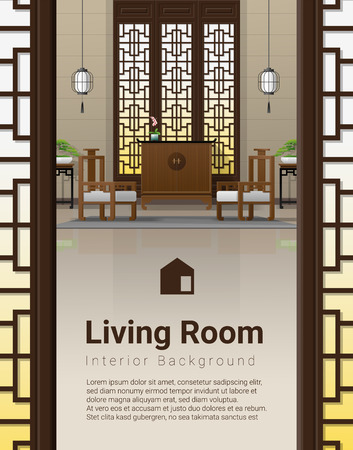 Luxury living room interior background with furniture in Chinese style , vector , illustration Ilustrace