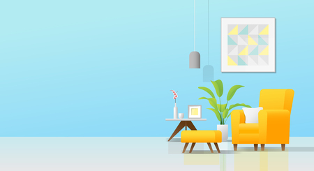 Interior background with cozy colorful living room , vector , illustration Ilustrace