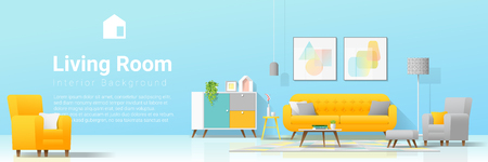 Interior background with cozy colorful living room , vector , illustration Illustration