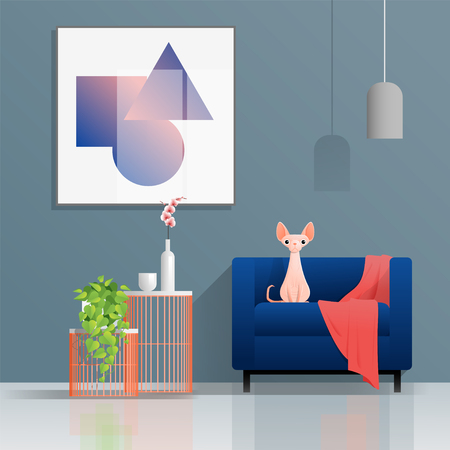 Colorful living room background with furniture and cat , vector , illustration