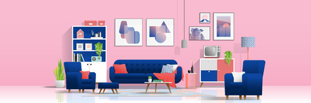 Interior background with colorful living room , vector , illustration