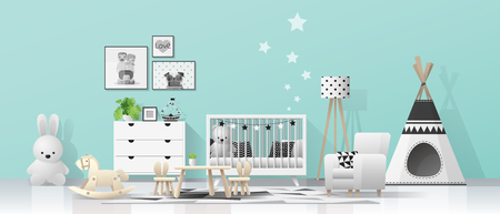 Interior background with modern baby room , vector , illustration
