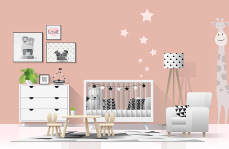 Interior background with modern baby bedroom , vector , illustration