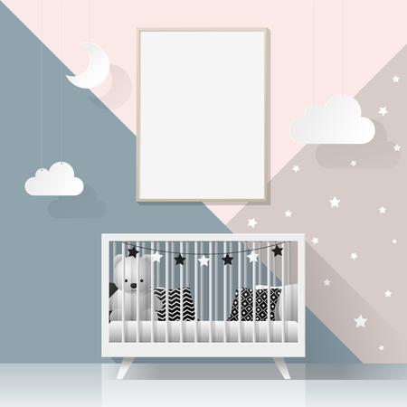 Maquette cadre d'affiche dans la chambre de bébé moderne, vecteur, illustration