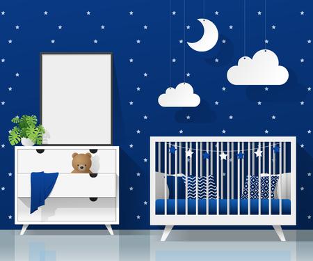 Mock up poster frame in modern baby bedroom , vector , illustration
