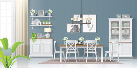 Fondo interior con comedor en estilo rústico moderno, vector, Ilustración Ilustración de vector