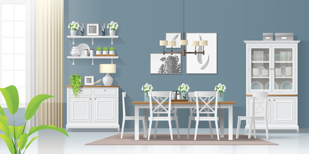 Interior background with dining room in modern rustic style , vector , illustration