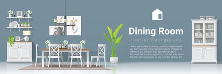 Interior background with dining room in modern rustic style , vector , illustration Illusztráció