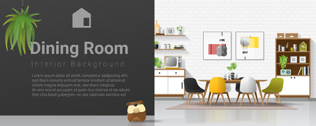 Modern dining room background with wooden furniture , plants , cute bulldog and black wall , vector , illustration Illustration