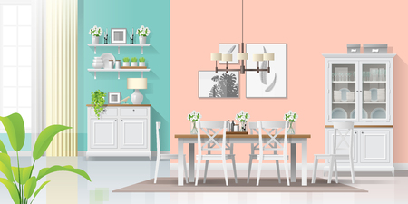 Interior background with colorful dining room in modern rustic style , vector , illustration Illustration