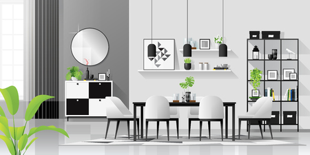 Interior background with modern black and white dining room in scandinavian style , vector , illustration