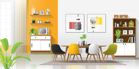 Interior background with modern colorful dining room , vector , illustration