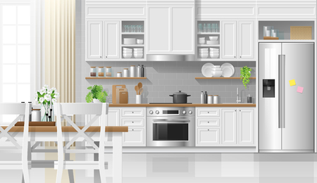 Interior background with kitchen in modern rustic style , vector , illustration