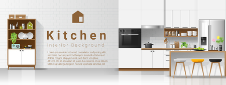 Modern white kitchen interior background , vector , illustration Illustration
