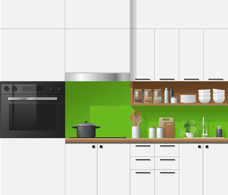 Modern white kitchen with green background , vector , illustration Ilustrace