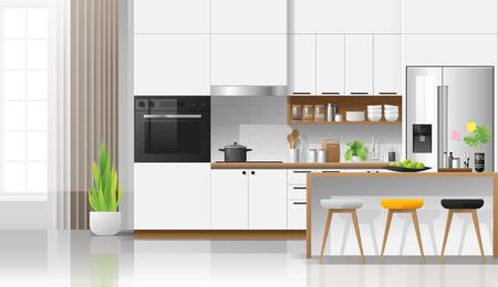 Modern white kitchen interior background , vector , illustration Banque d'images - 125060138