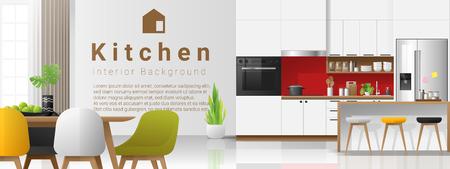 Modern colorful kitchen interior background , vector , illustration Illusztráció