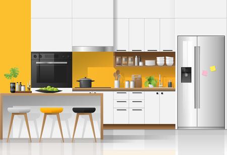 Modern colorful kitchen interior background , vector , illustration Ilustração