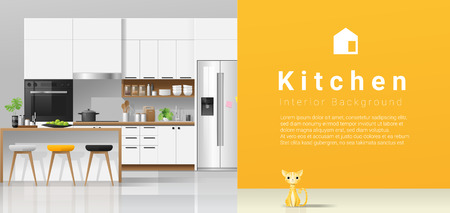 Modern white kitchen with yellow wall background , vector , illustration