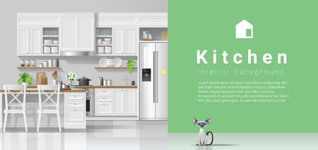 Modern rustic kitchen with green wall background , vector , illustration Ilustração