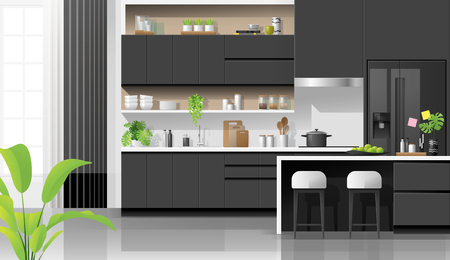 Interior background with modern black and white kitchen , vector , illustration Banque d'images - 125060144