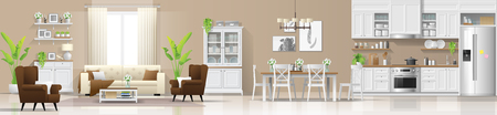Modern rustic house interior background with living room , dining room and kitchen combination , vector , illustration