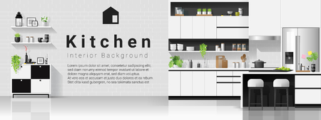 Interior background with modern black and white kitchen , vector , illustration Banque d'images - 125060149