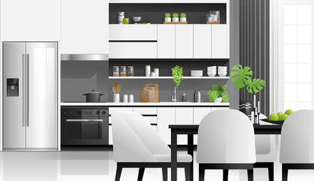 Interior background with modern black and white kitchen , vector , illustration Banque d'images - 125060151
