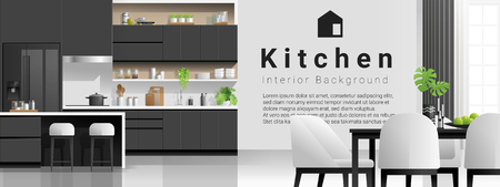 Interior background with modern black and white kitchen , vector , illustration Banque d'images - 125060152